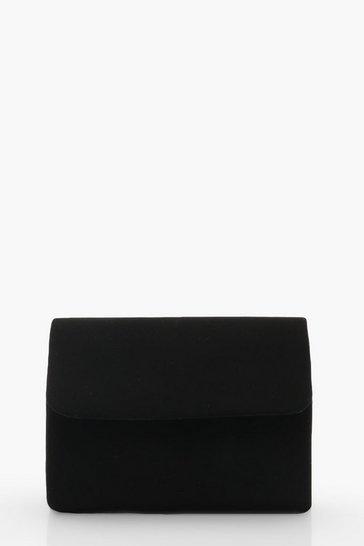 Black Micro Mini Suedette Clutch And Chain Bag