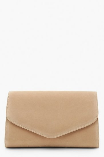Taupe beige Suedette Envelope Clutch Bag & Chain