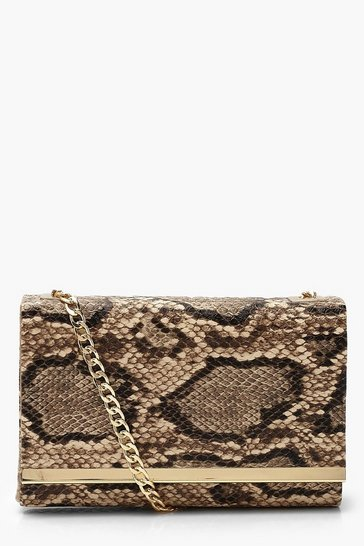 Brown Faux Snake Structured Suedette Clutch Bag