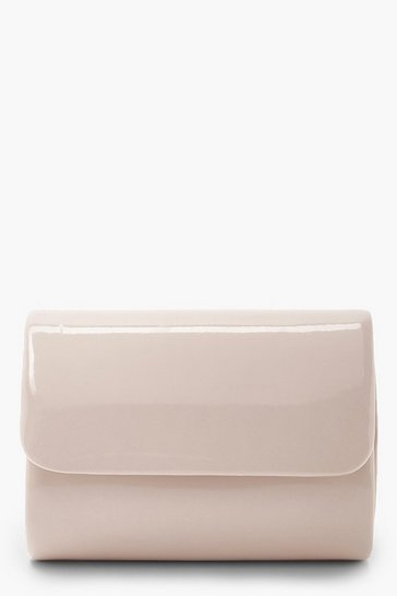 Nude Mini Structured Patent Clutch Bag & Chain