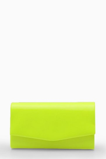 Yellow Structured Neon Clutch Bag & Chain