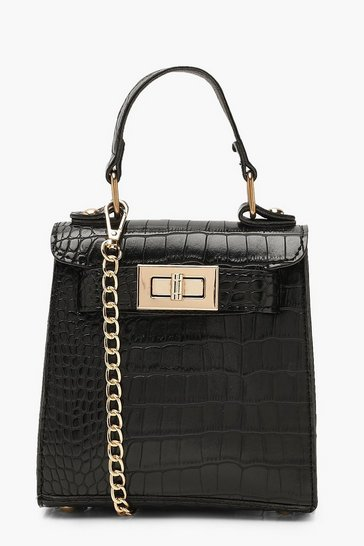 Black Faux Croc Mini Lock Grab Bag