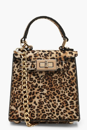 Natural beige Suedette Leopard Mini Lock Grab Bag