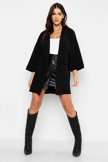 Black Crepe Midi Kimono