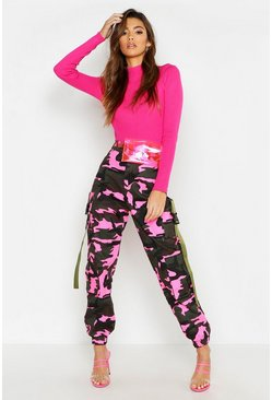 Pink Fluroescent Camo Cargo Trousers