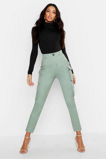 Sage High Waist Skinny Cargo Pocket Trouser