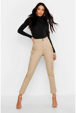 Sand beige High Waist Skinny Cargo Pocket Trouser