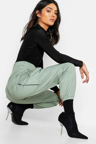 Sage Woven Pocket Cargo Trousers