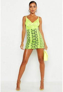Lime green Neon Snake Mini Skirt