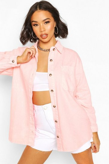 Pink Oversize Acid Wash Rigid Denim Shirt