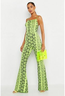 Lime green Neon Snake Flare Jumpsuit