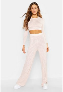 Soft pink Rib Cropped Top & Pants Co-Ord Set