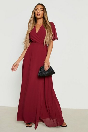 Berry red Chiffon Angel Sleeve Wrap Maxi Bridesmaid Dress