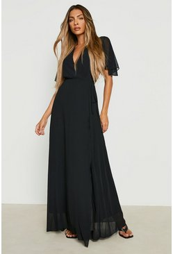 Black Chiffon Angel Sleeve Wrap Maxi Bridesmaid Dress