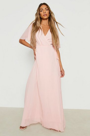 Blush pink Chiffon Angel Sleeve Wrap Maxi Bridesmaid Dress