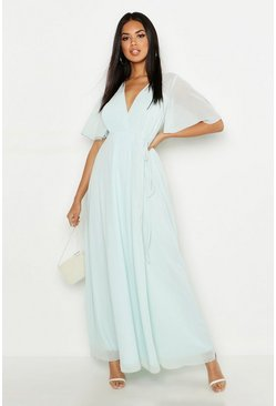Mint green Chiffon Angel Sleeve Wrap Maxi Bridesmaid Dress