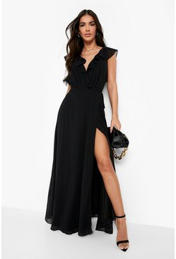 Black Frill Wrap Detail Chiffon Maxi Bridesmaid Dress