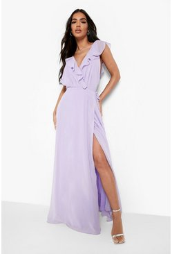 Lilac Frill Wrap Detail Chiffon Maxi Bridesmaid Dress