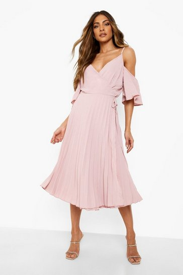 Blush pink Woven Shoulder Pleated Midi Skater Bridesmaid Dress