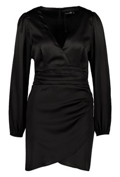 Black Satin Wrap Detail Mini Dress