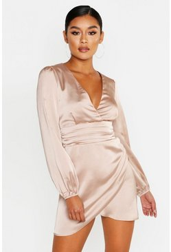 Champagne beige Satin Wrap Detail Mini Dress