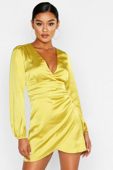 Chartreuse yellow Satin Wrap Detail Mini Dress