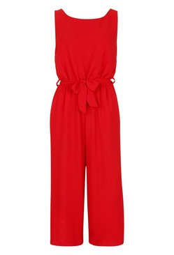 Red Culotte Jumpsuit