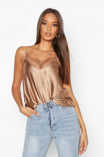 Chocolate brown Brown Lace Trim Side Split Cami