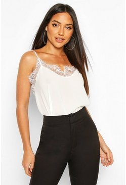 Cream white Lace Trim Side Split Cami