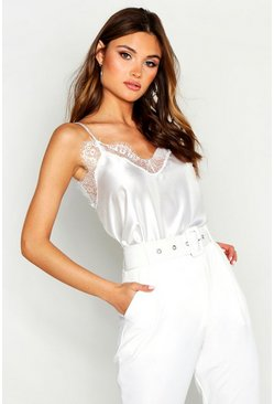 Ivory white Lace Trim Side Split Cami