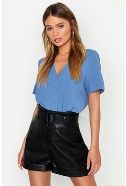 Denim-blue blue Short Sleeve Button Through Blouse