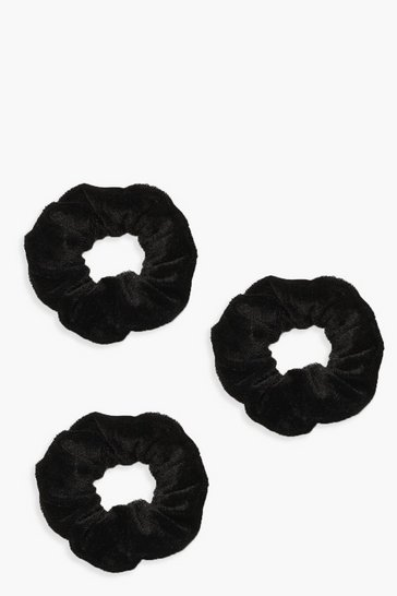 Black 3 Pack Velvet Scrunchies