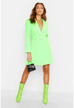 Neon-green neon Neon Belted Blazer Dress