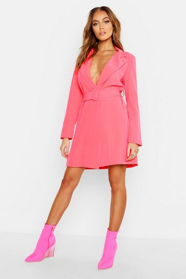 Neon-pink pink Neon Belted Blazer Dress