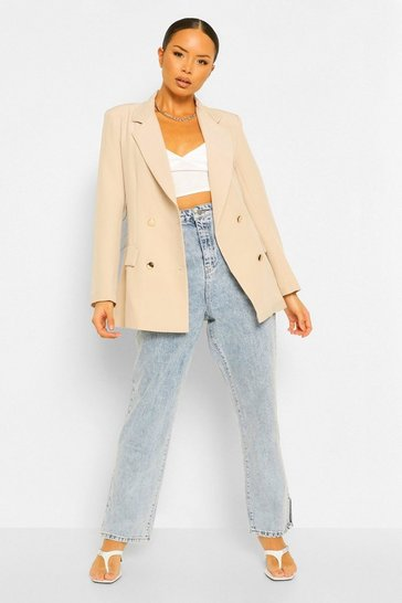 Natural beige Double Breasted Military Blazer
