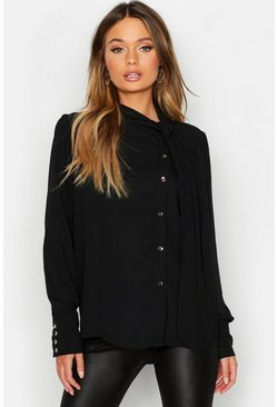 Black Woven Pussybow Button Detail Blouse