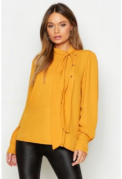 Mustard yellow Woven Pussybow Button Detail Blouse