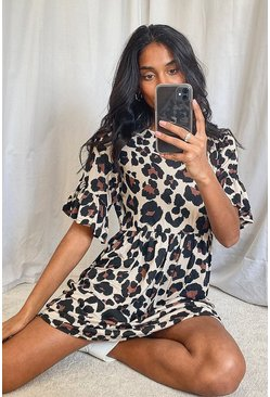 Leopard Print Smock Dress, Tan Коричневый