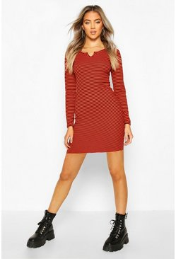 Red Notch Neck Stripe Rib Midi Dress