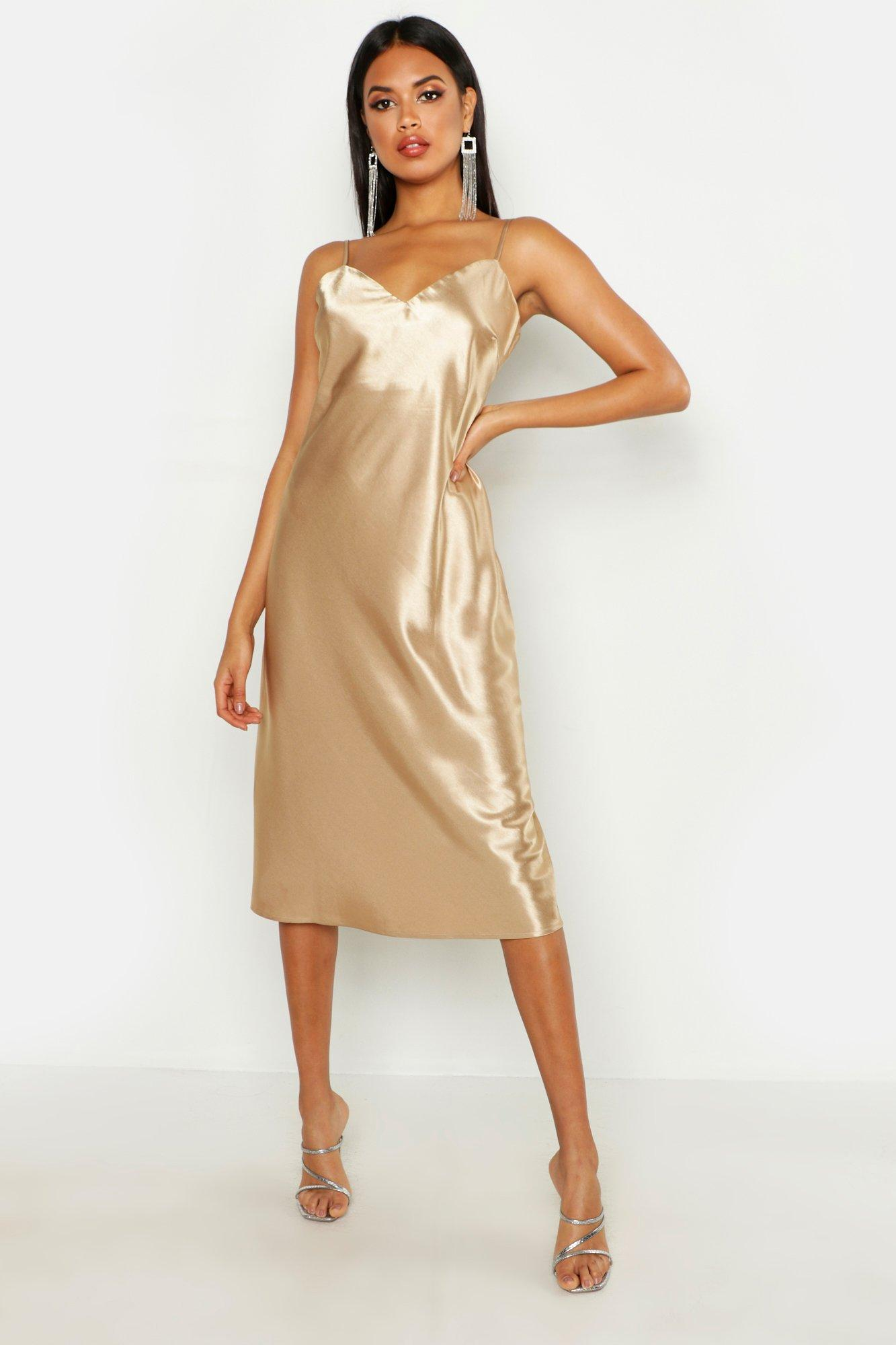Satin Slip Midi Dress  boohoo