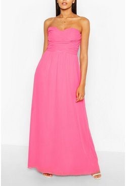 Magenta pink Chiffon Bandeau Maxi Bridesmaid Dress