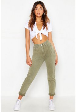 High Waist Rigid Mom Jeans, Khaki caqui