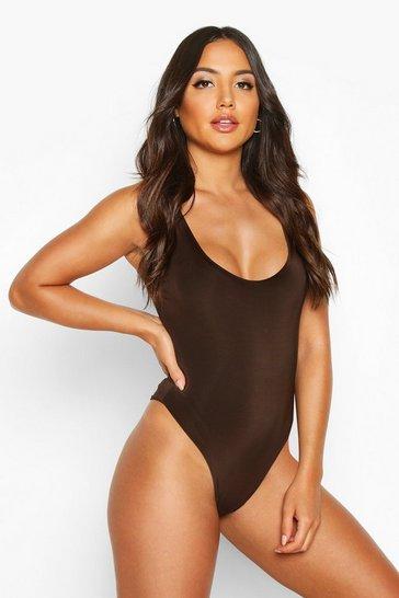 Chocolate brown Brown Slinky Double Layer Scoop Sleeveless Bodysuit