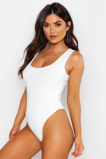 White Slinky Double Layer Scoop Sleeveless Bodysuit