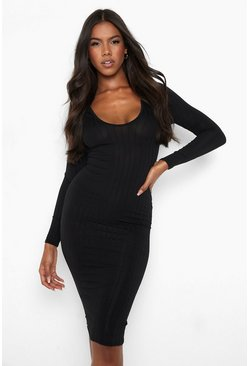 Black Ribbed Plunge Neck Midi Dress