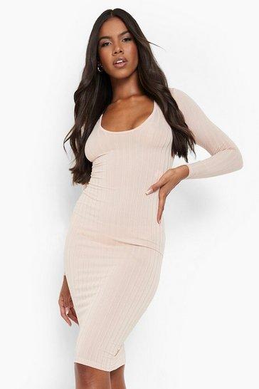 Blush pink Ribbed Plunge Neck Midi Dress