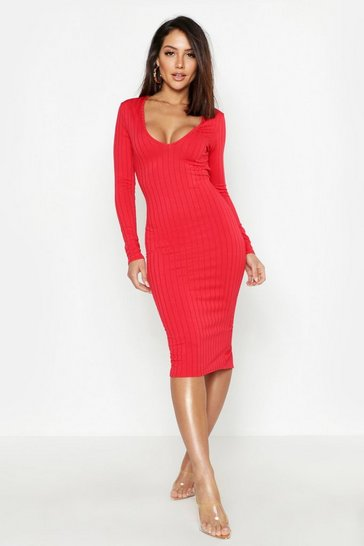 Red Ribbed Plunge Neck Midi Dress