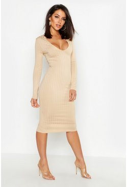 Taupe beige Ribbed Plunge Neck Midi Dress