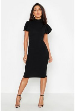 High Neck Frill Sleeve Midi Dress, Black nero