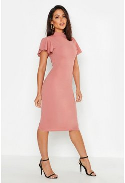 Rose pink High Neck Frill Sleeve Midi Dress